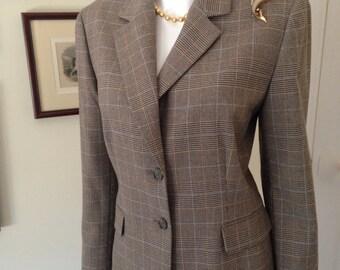 90's Check Plaid Pant Suit, Structured 2 Piece Suit, Classic Business Suit Check Plaid Mens Wear Suit-Size L