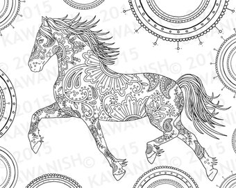 Horse coloring  Etsy