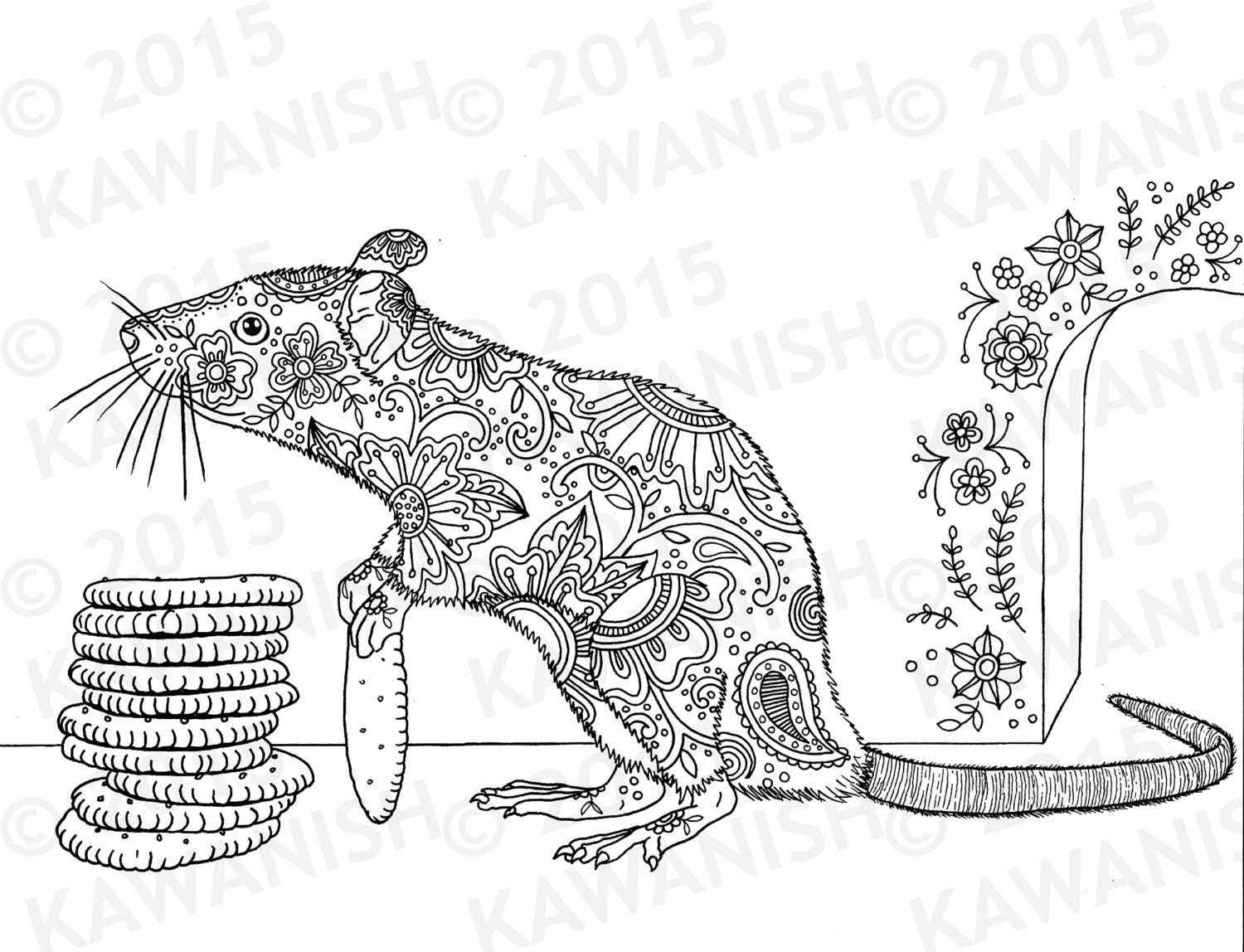 Cracker stacker rat adult coloring page gift wall art floral for Rat coloring pages