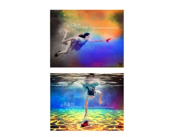 Set of 2 Fine Art Prints, Wizard of Oz inspired Underwater Photography, Dorothy, Ruby Slipper