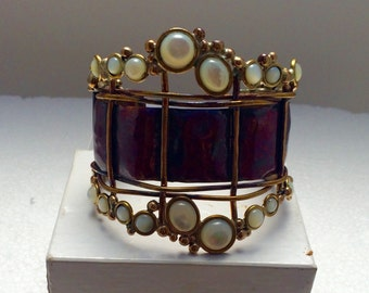 """Red copper """"crowned jewel"""" cuff bracelet with brass accents and mother of pearl stones."""