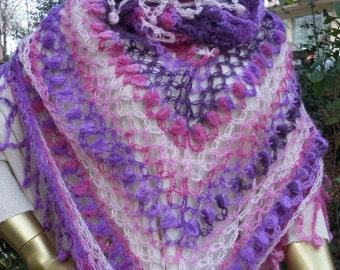 SALE  Purple pink ivory  shawl, colorful shawl, women shawl, wrap, shrug, scarves