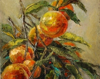 Original Oil Painting - Peaches Palette knife painting