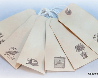 Bird Gift Tags, Cottage Chic Tags, Shabby French Tags, Tea Stained Tags, French Chic  Tags, Primitive Luggage Tags, French Industrial Tags