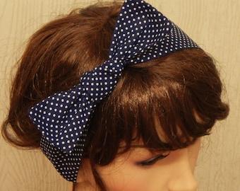 Navy Blue and White Polka Dot Cotton Rockabilly Pin Up Headband Hair Wrap