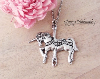 Carousel Unicorn Necklace - Large Silver Carousel Unicorn Pendant - Antique Silver Jewelry