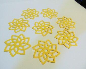 12 Filigree Flower Die Cuts  - Yellow Cardstock - Favor Tags - Card Making - Scrapbooking - Cupcake Toppers