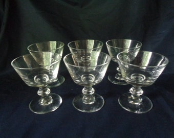 Vintage Footed Glasses for Drinking or Serving - Set of 6