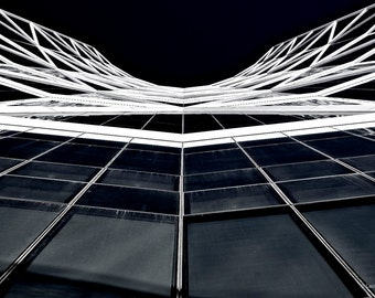Black & white architecture photo, abstract view of building