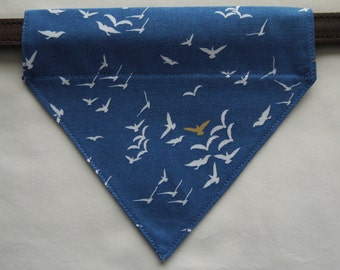 Handmade Dog Bandana Scarf Neckerchief Birds Seagulls Blue White Yellow 100% Cotton