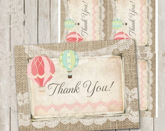 Hot Air Balloon, Thank You Card, Mint Hot Air Balloon Thank You Card, Coral, Burlap, Lace, Printable Thank You, 4x5, Instant Download