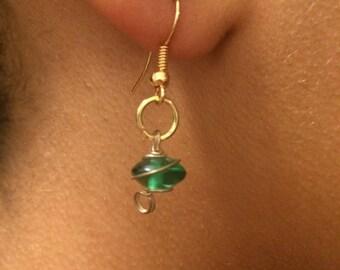 Classic Light Emerald Disk Earrings