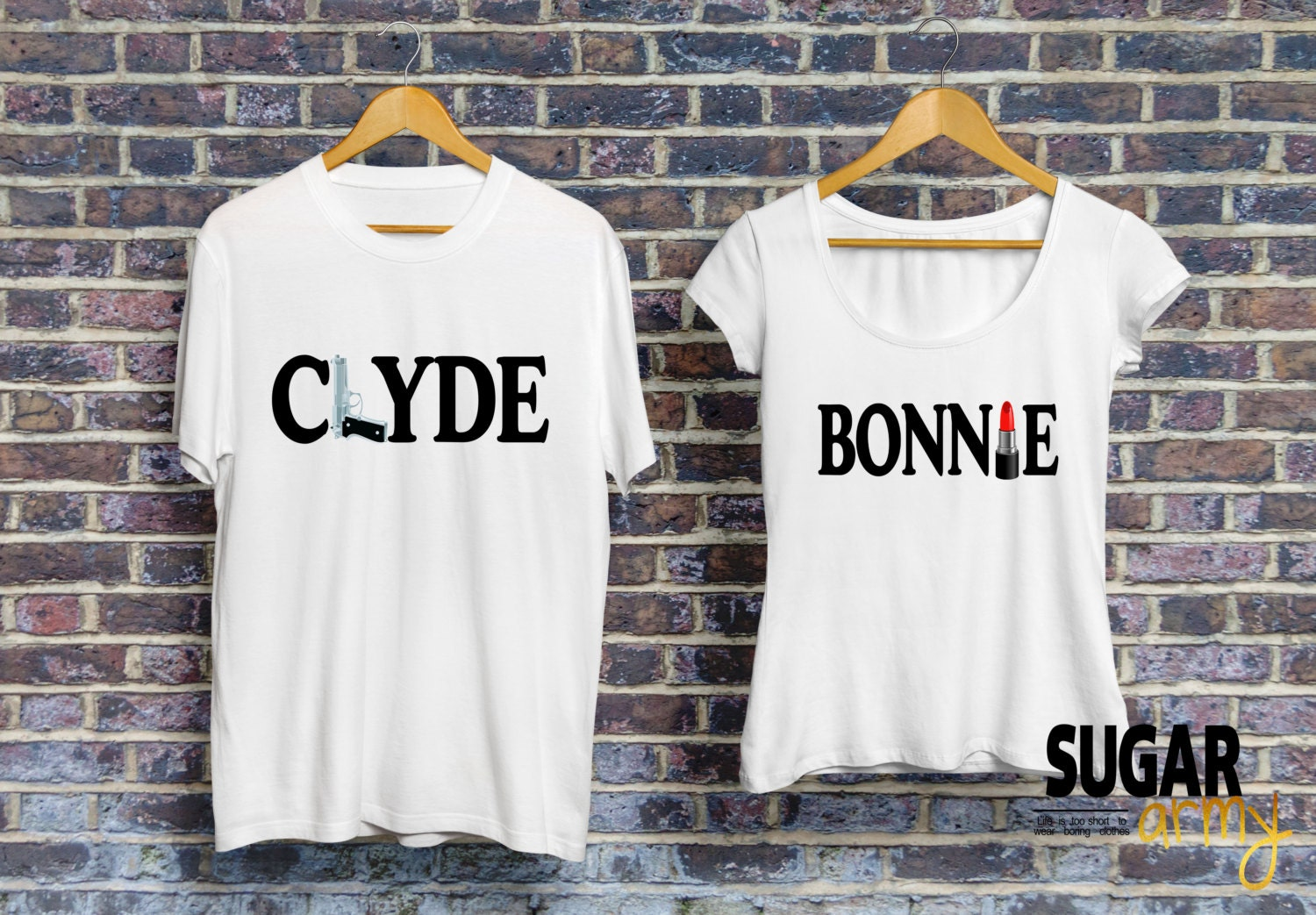 bonnie and clyde shirts bonnie clyde couple shirts matching. Black Bedroom Furniture Sets. Home Design Ideas