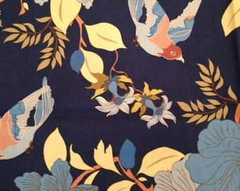 "wooster and prince ""Good Life Collection"" for Robert Kaufman 100% organic cotton quilting fabric--Chinoiserie Birds and Camelias"