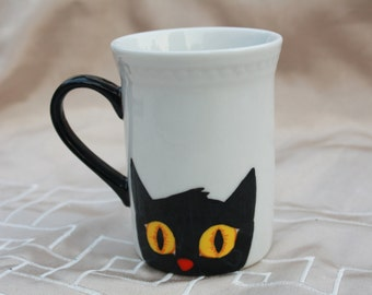 Cup black cat hand painted