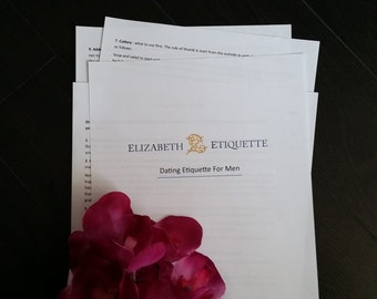 Dating Etiquette Guide for Men - Printable PDF (INSTANT DOWNLOAD - 4 Pages)