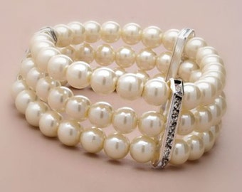 3 Row Ivory Cream Pearl Bead Corsage Bracelet with Crystal Wedding corsage Wedding Bracelet Pearl Bracelet