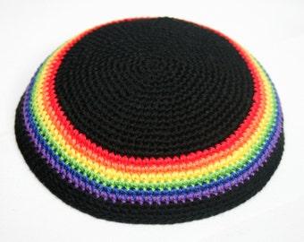 kippah rainbow and black