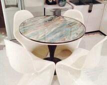 "1:6 scale Miniature Dollhouse Furniture -Green/Brown Faux Marble Saarinen Table 11 1/2""-16"" Fashion Dolls, Diorama"