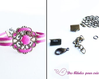 Kit DIY bracelet bright pink and white