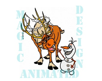 Sven and Olaf Frozen Machine Embroidery Design in 3 sizes ---Instant download---
