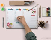 Digital Daily Schedule - Printable Planner Desk Watercolour Daily Schedule • To do list • Organization list