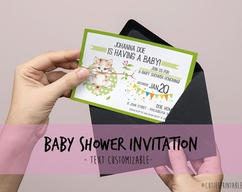 Baby Sprinkle Invitation - Invite Printable with cutie kitten - Text Customizable