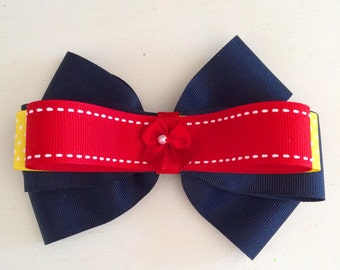 navy,red and yellow bow