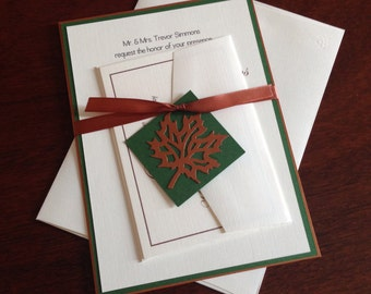 Copper and Green Autumn Wedding Invitation