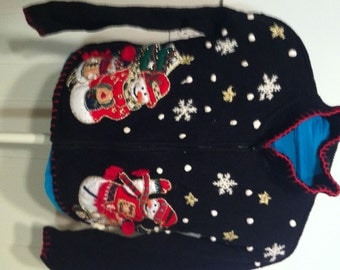 SALE 50% Off UGLY CHRISTMAS SWEATEr Snowmen Trees and Snowflakes Small S Extra Small Size 7