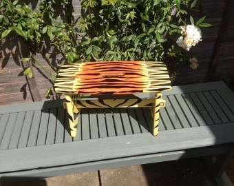 OOAK tiger animal print painted children's wooden stool(made to order)
