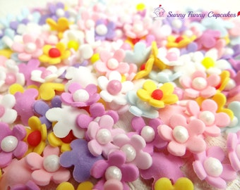 48 Multi colour edible sugar flowers cupcake decorations cake toppers sprinkles