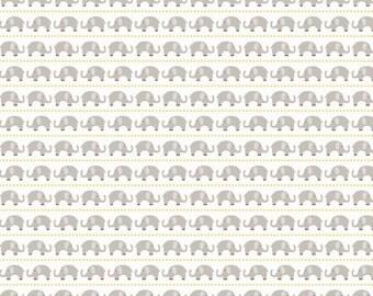 Oh Boy Elephants Gray - Riley Blake Designs - Jersey KNIT cotton lycra stretch fabric - choose your cut