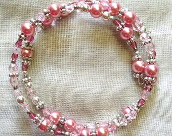 Pinks and Silver Coil Bracelet