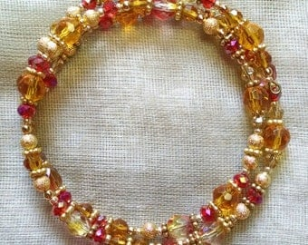Tangerine and Vermillion Coil Bracelet