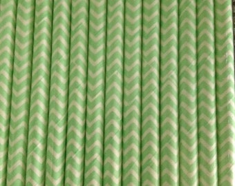 Mint Green and White Chevron Paper Straw (pack of 25)