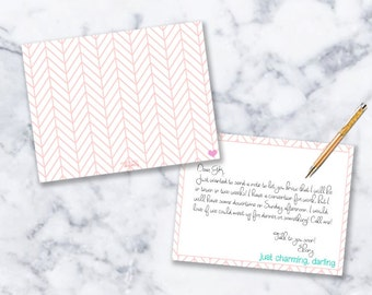 Note Card Stationery   Set of 12   Just Charming Darling   Sorority Gift