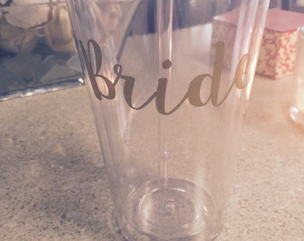 Customized Gold Bride Tumbler