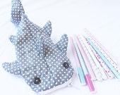 Cute Whale Shark Pencil Case, Zipper Pouch - Gray Polka Dot