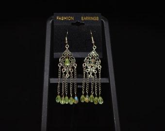 Silver Tone Green Crystal Dangle Earrings