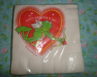 Vintage Kermitthe Frog Napkins Valentines Day Cupid Hallmark NIP red green