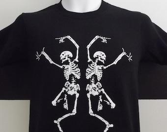 Halloween T-Shirt Dancing Skeletons. 100% Cotton