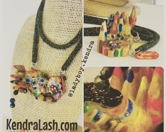 Rainbow Castle Pencil Jewelry necklace