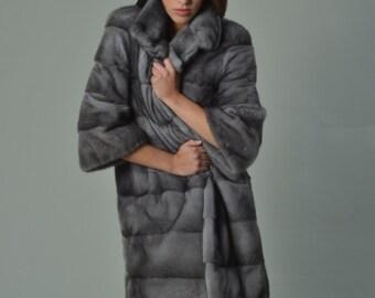 Luxury gift/Sapphire Mink Full skin Fur coat/Fur jacket/Hooded/Wedding,or anniversary present/All sizes