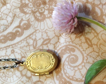 Vintage Brass Locket and Antiqued Brass Necklace