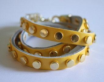 Studded Yellow Leather Bracelet