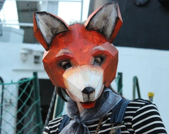 Make your own Fox mask from Cardboard, Instant Download, PDF Templates, Printable Mask