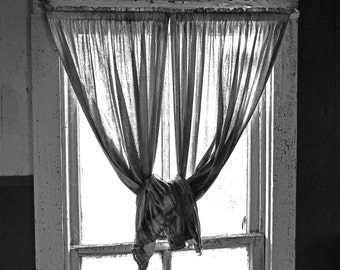Knotted Up Curtains, Fine art photograph, photography print, whimsy photography, curtain, window, black and white photo