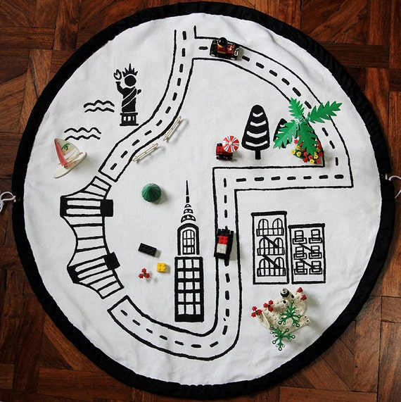 Hand Painted Play Mat, New York City Playmat, Play Rug