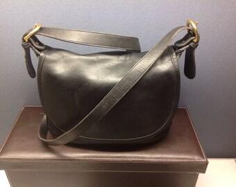 Vintage Coach Fletcher Shoulder Cross Body Bag #4150 Black Leather Flap Purse